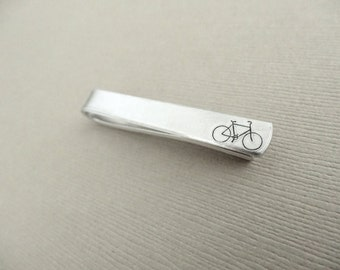 Bicycle Tie Clip - Personalized Tie Clip - Engraved Tie Clip - Gifts for Cyclist - Marathon, Exercise, Biker Jewelry