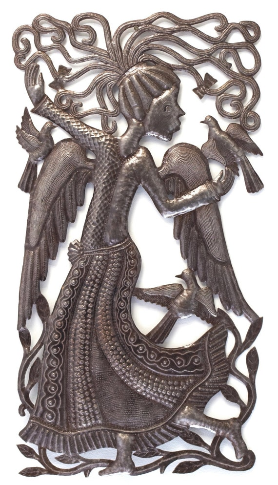 "Angel Dance, Haiti Metal Wall Art, Fair Trade, Recycle Metal Wall Art, Spirituality & Religion, 18"" x 34"""