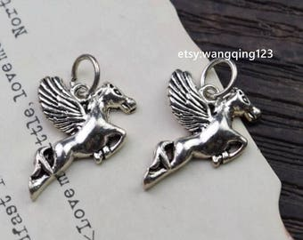 2 pcs flying horse charm pendant in oxidized 925 sterling silver, HS1