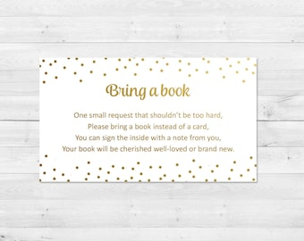 Bring A Book Instead Of A Card, Baby Shower, White And Gold, Bring A Book Insert, Printable, Instant Download, Books For Baby