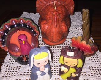 Lot of 5 vintage fall pilgrim Thanksgiving candles