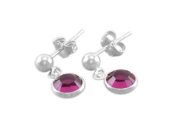 Little Girls Earrings, Sterling Silver, Fuchsia Ruby earrings, flower girl jewelry, stud, july, dangles, ball post, young girls gifts