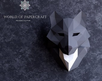 Wolf totem low poly, Papercraft, PDF Template, Low Poly wolf, Paper Sculpture, American indian totem, Pepakura, Handmade