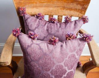 Purple Pom Pom Pillow, Purple, Pom Pom Pillow, Pom Pom. Purple Pillow, Upholstery Pillow, Decorative Pillow, Bedroom Pillow, Throw Pillow