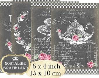 Chalkboard Tea Time Cup of Tea Pot Kitchen Cuisine 6 x 4 inch Instant Download digital collage sheet D152