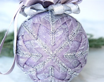 Quilted Christmas Ornament Ball-Lavender-Silver-Crystal