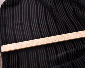 "Silk burnout, silk velvet, black, stripped , 43""/110cm  Fancy Fabric  for dresses, shirts, shawls, cheongsam, kimonos, by the yard"