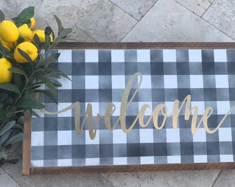 Welcome, Plaid, wood sign, Fixer Upper inspired, farmhouse welcome