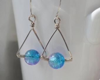 Cotton Candy Crackle Glass Triangle Earrings Handmade Wire Wrapped