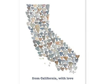 California card, California state map, California wedding, California engagement, California love, California gift, love rocks pebble art