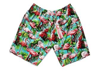 Men's Retro Flamingo Print Board Shorts