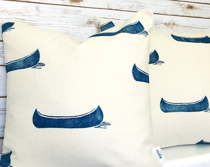 Handprinted organic canvas pillow cover set - Drifting Canoes in navy blue