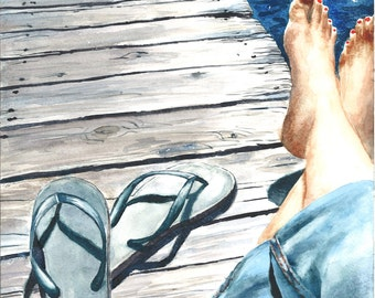 Sittin' on the Dock - 8 x 10 print of original watercolor painting. Happy Feet Series