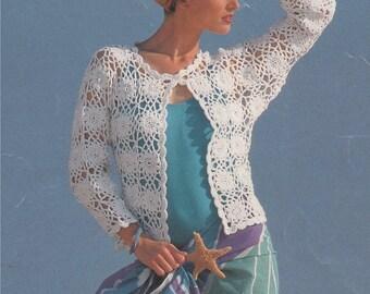 Womens Jacket PDF Crochet Pattern : Ladies 30 - 32, 34 - 36 and 38 - 40 inch chest . Cotton DK . Crochet Cardigan . Digital Download