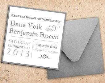 Square Save the Date | Wedding Invitation Card and Envelope - Custom Design