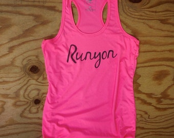 Runyon Women's Totally Hot Pink Scipt Yoga Tank Made In USA