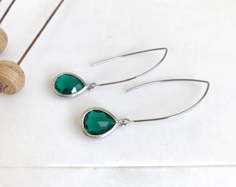 Christmas Green Teardrop Dangle Earrings. Green Drop Earrings. Green Dangle Earrings. Christmas Gift. Holiday Jewelry. Stocking Stuffers.