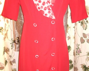 Dawn Joy Dress with Red and White Scarf and Chiffon Skirt 70s 80s Vintage