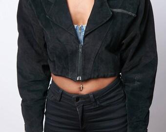 Vintage 80s Era Contempo Casual Crop Jacket (Black/Size M)