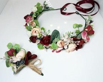 Burgundy Pink Flower crown,Burgundy Boutonniere, Maroon flower crown,Wedding flower crown,Flower girl crown,Bridal flower crown