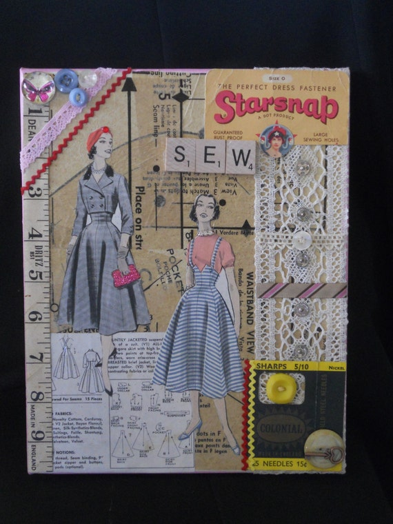 Pattern paper art collage Vintage sewing art collage Sewing