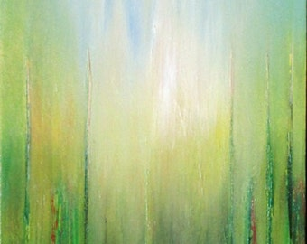 Acrylic Painting Abstract Contemporary Art Green Yellow Brown Blue ORIGINAL ABSTRACT Landscape PAINTING Canvas Art 12x10x1,2 (30cmx24cmx3cm)