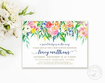 Summer  Baby Shower Invitation, Flora Whimsical Baby Shower Invitation, Watercolor Flowers, Digital Printable Invitation 0551