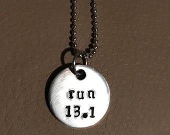"Half marathon necklace ""run"" and ""13.1"" hand atamoed jewelry runners life"