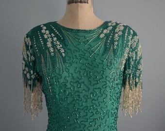 Great Gatsby LILLIE RUBIN Sea green Sequins w Beaded Fringe Evening Gown Silk Pearl Dress