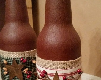 Primitive Rustic Bottle - Rusty star and pip berries Rustic Home decoration shelf sitter