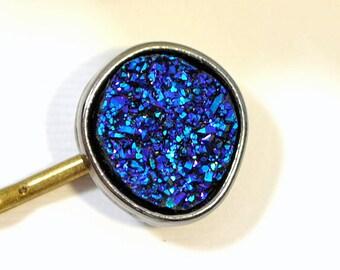 Druzy Hair Pin Bobby Pin Druzy Bobbies Blue Purple Hair Clip Handmade Hair Accessories