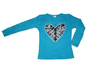 Tie Dye Shirt in Turquoise with a Zebra Heart- Girls and Adult Sizes Available