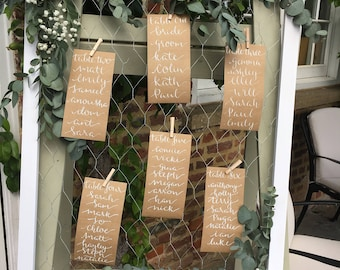 Wedding Signage, Seating Plan, Rustic Wedding, Vintage Wedding, Table Names, Place Cards, Wedding Decoration, Shabby Chic,
