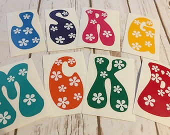 Groovy Letter Decal - Single Letter Decal - Letter Monogram Decal -single letter - letter mono - vinyl decal - tumbler decal - YETI decal