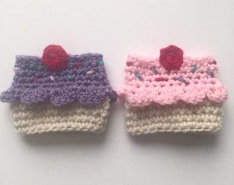 Crochet cupcake coffee cozy