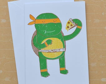 Michelangelo with Pizza TNMT Screenprinted Card