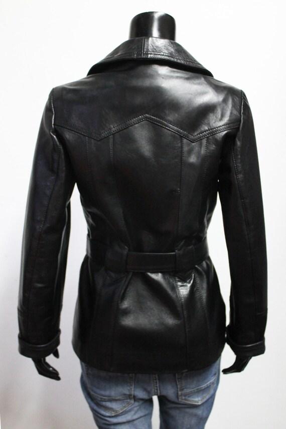 belted color Black jacket genuine coat handmade Women lambskin leather soft Italian vqpwYzOO