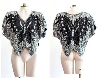 Black silk and silver sequins butterfly blouse