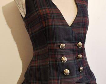 waistcoat tartan steampunk buttons Taille XL