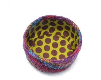 Crochet Bowl/Basket Purple Rainbow Fabric Lined with polka dots