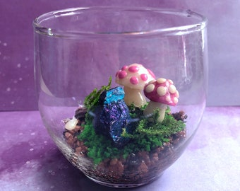 """Miniature Art Terrarium w/ Polymer Clay Mushrooms, Accents and Real Chalcopyrite """"Peacock Ore"""" - Small Glass Bowl"""