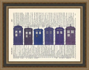 Doctor Who -Tardis-A thousand years of Time Travel illustration is printed on a vintage Dictionary Page, Tardis Print, Doctor Who Print.