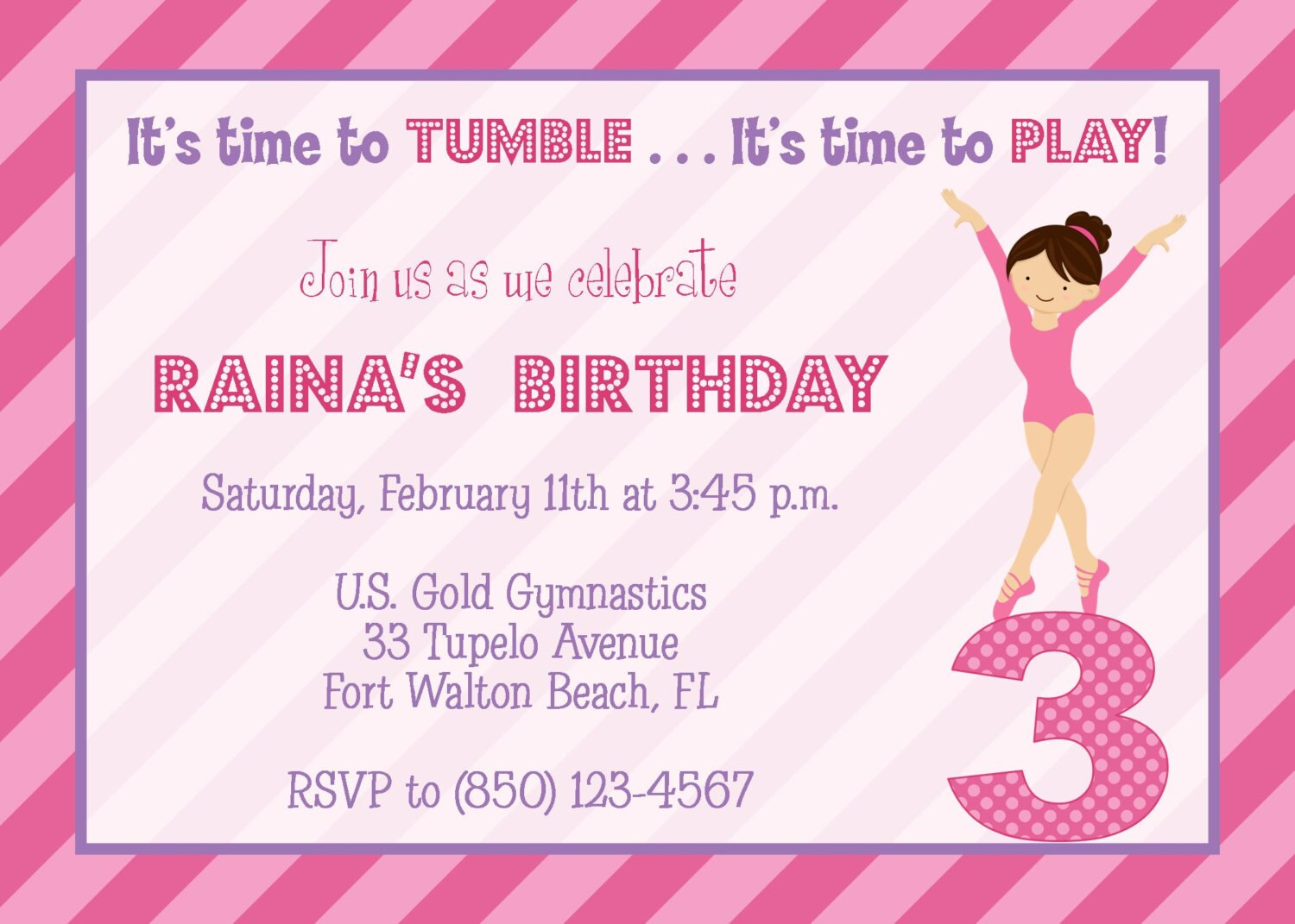 Gymnastics Pink & Purple Party Invitation Girl Birthday