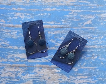Denim Teardrop Earrings