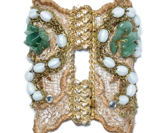 Oversized lace bracelet with swarovsky, semiprecious stones and 24k gold plated brooch