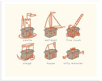 Children's Wall Art Print - Boxes - Kids Nursery Room Decor