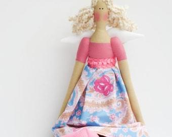 Fabric doll angel fairy doll - cloth doll art doll cute stuffed doll rag doll pink blue paisley cloth doll gift for girl
