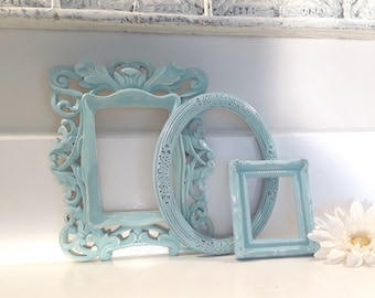 Shabby chic frames, frame collection, frame set, aqua blue frames, upcycled frames, ornate frames, picture frame, nursery decor