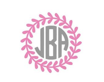 Floral Monogram Decal / Circle monogram decal / floral monogram sticker / monogram decal / monogram sticker / car decal / floral decal / 3
