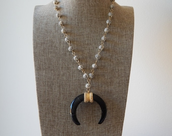 Black double horn bone pendant with carved bone beads, wire wrap necklace, long layering necklace, neutral, boho necklace, handmade necklace